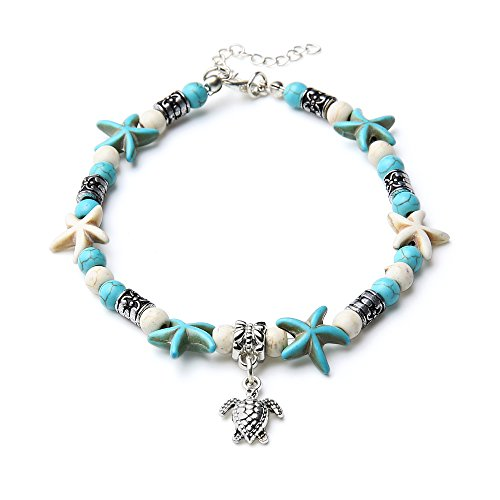 INSANEY Starfish Charm and Turquoise Pearl Bead Link Anklet (Sea Turtles Starfish) -