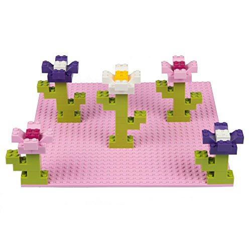 "SCS Direct Brick Building Base Plates - Large 10""x10"" Friends Inspired Pink and Purple Baseplates (4pcs Multi Pack) - Dual Side Connectivity, Tight Fit w All Brands"