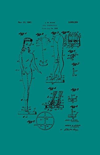 Póster con diseño de patente enmarcada de Décor Barbie Doll Classic Retro Girls de 28 x 43 cm impreso PAPSSP57T, color...