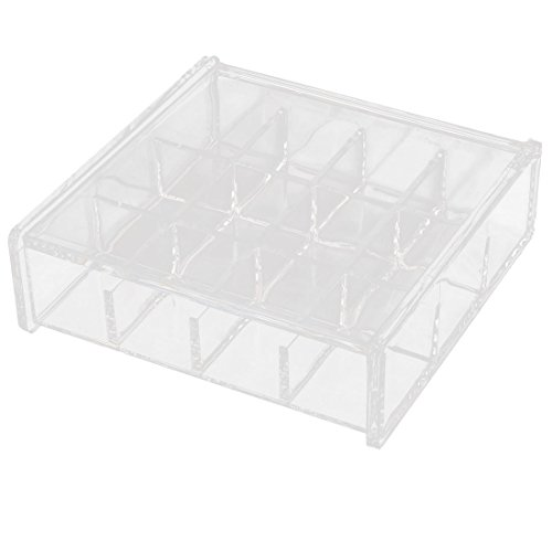 uxcell Acrylic Rectangle 12 Slots Earrings Jewelry Box Organizer Holder Clear w Cover ()