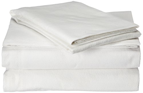 Pointehaven Flannel Deep Pocket Set with Oversized Flat Sheet, Twin, White