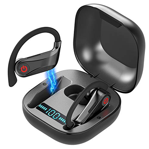 True Wireless Earbuds, YALFEN Bluetooth 5.0 Wireless Headphones with 2000mAh Charging Case, IPX7 Waterproof TWS Stereo Headphones in-Ear Built-in Mic Single/Twin Mode Headset for Work Sport