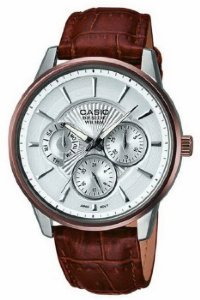 Casio Bem-302L-7Avdf Men's Beside Brown Genuine Leather Strap Silver-Tone Textured Dial Watch
