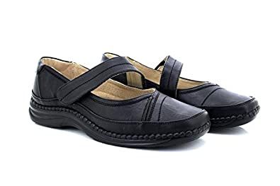 2df2daf30c8 Ladies Black Extra Wide Touch Fastening Bar Shoe - Black - size UK Ladies  Size 3. Boulevard