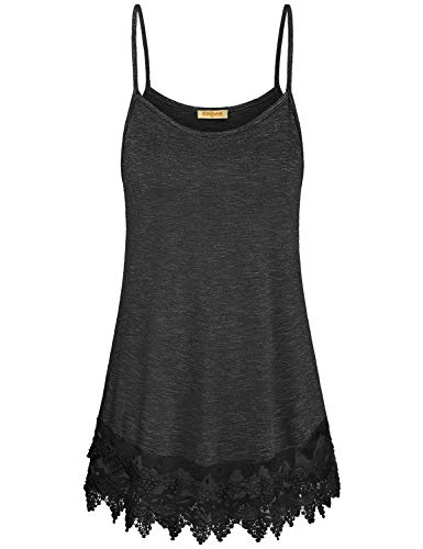 Baikea Cami Tank Tops for Women,Sleeveless Summer Clothes Strappy Lace Halter Top Feminine Plain Flyaway Flowing Shirts Tunic Top for Leggings Comfy Home Wear Black L