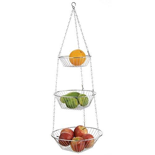 mDesign 3-Tier Kitchen Hanging Basket for Fruits, Vegetables - Chrome