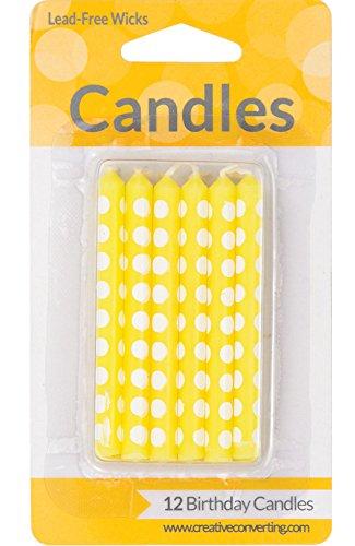 Creative Converting 12 Count Polka Dots Birthday Cake Candles, Mimosa Yellow ()