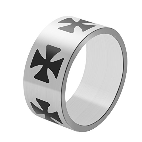 Iron Cross Ring Stainless Steel Wide 10 mm for Men with Exquisite Box Size 11 (Steel Iron Cross)
