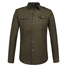SSLR Men's Cotton Casual Long Sleeve Military Shirt