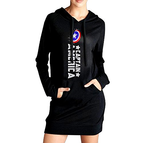 Captan AmericaV Neck Hoodie Dress