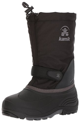 Kamik Kids Waterbug5 Snow Boot, Black/Charcoal, 7 Medium US Big Kid (Snow Boys Kid Big Boots)