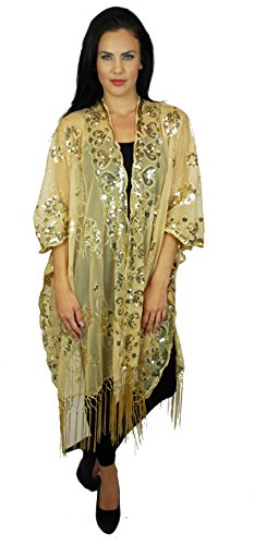 Womens Mother of The Bride Beaded Fashion Shawl Tunic Poncho Cover One Size Top (Gold Kimono)