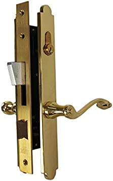 Brass Plated Steel FULL MORTISE RIGHT HAND DOOR OR DRAWER LOCK Set