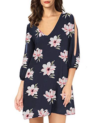 (Noctflos Women Summer Cold Shoulder Floral V Neck Shift Short Dress (X-Large, Navy Pink Floral))