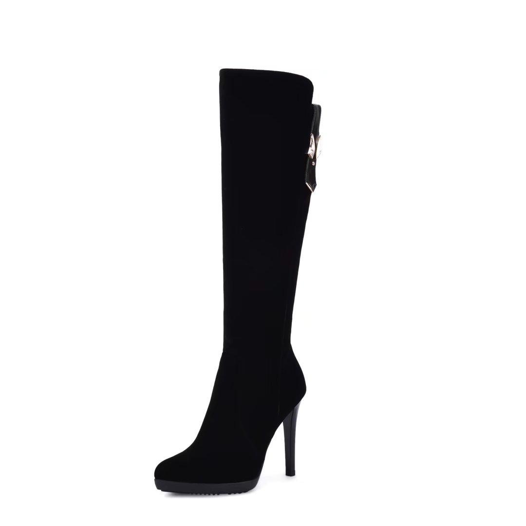VIMISAOI Womens Black Pointed Toe High-Heeled Nubuck-Leather Boots