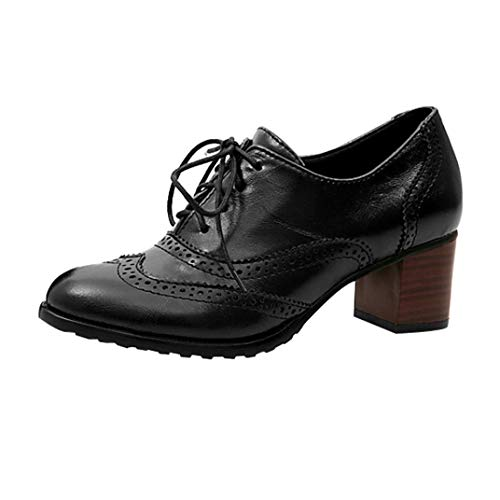 (UOKNICE Fashion Women' Lace Up Hollow Shoes Oxford Shallow Mouth Single Shoes Block Heel Shoes(Black, CN 43(US 9)))