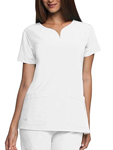 Grey's Anatomy Signature Women's Two Pocket Notch Yoke Neck Scrub Top, White, Medium (Pocket Signature)