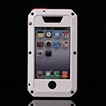 iPhone 4 Case,Amever [Waterproof] [Exact-Fit] iPhone 4S Case [Scratch Proof] Extreme Shockproof Dust/Dirt Proof Aluminum Metal Military Heavy Duty Protection Cover Case for Apple iPhone 4 4S-White