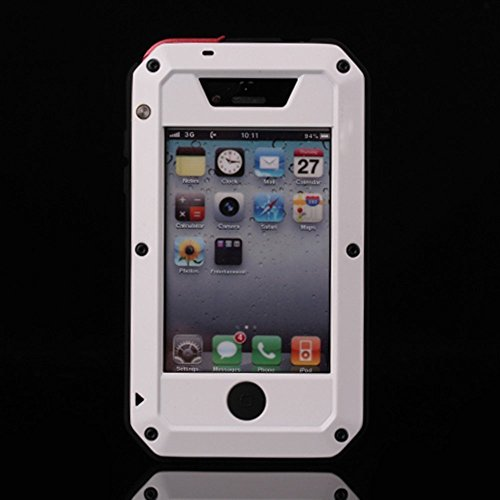 iPhone 4 Case,Amever [Waterproof] [Exact-Fit] iPhone 4S Case [Scratch Proof] Extreme Shockproof Dust/Dirt Proof Aluminum Metal Military Heavy Duty Protection Cover Case for Apple iPhone 4 4S-White (Best Iphone 4 Metal Case)