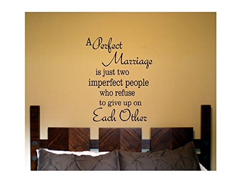 Susie85Electra Marriage Wall Quote Sign Vinyl Decal Sticker Perfect Marriage Husband And Wife Love Newleyweds Bedroom Decal Family Verse Living Home (Newleyweds The)