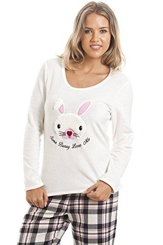 Camille - Conjunto de pijama largo para mujer - Motivo conejito - Cuadrados negros y crema Negro
