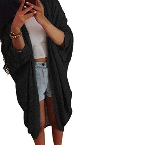PHOTNO Casual long knit coat jacket cardigan sweaters for women Lady (S, Black) - Cardigan Sweater Dress