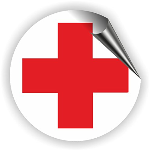 Aufkleber DRK Rotes Kreuz für Erste Hilfe / Verbandskasten / Medizinschrank Erste Hilfe 5 - 50 cm (Ø 10cm)