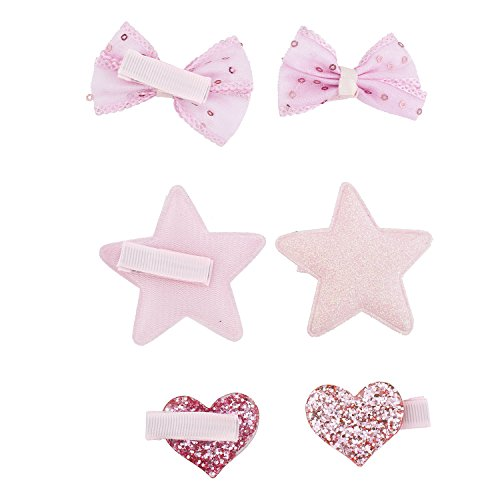 Lux Accessories Pink Star Heart Bow Glitter Baby Girl Infant Hair Clip Set 3PR ()