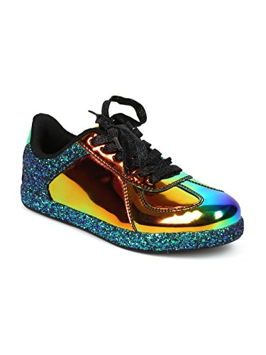 Cheap Women Glitter Encrusted Holographic Lace up Low Top Sneaker – HF70 by Qupid Collection – Black Hologram Mix Media (Size: 7.0)
