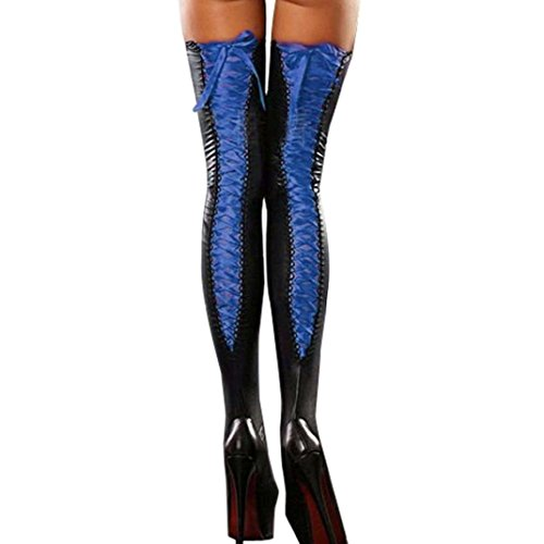 YJYdada Sexy Club Women Comfortable Thigh-high Stockings Leather Lace Bow Long Socks (Blue)