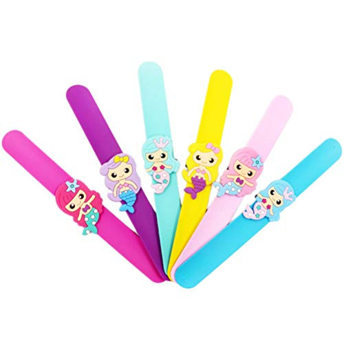 Toyvian PVC Mermaid Hair Clip Bookmark Mermaid Party Decoration Kids Favors Mermaid Bracelet Ring Birthday Party Decorations - 6pcs(Mermaid Ring,Random -