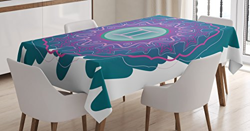 Ambesonne Zodiac Gemini Tablecloth, Doodle Style Mandala Round Pattern with Cosmic Sign and Scribble, Dining Room Kitchen Rectangular Table Cover, 52 W X 70 L Inches, Teal Pink and Green