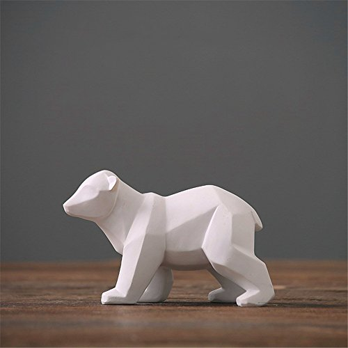 Resin Abstract White Polar Bear Sculpture Figurine Handicraft Home Desk Decor Geometric Resin Wildlife Bear Statue Craft (Small) (Polar Crystal Sculpture)