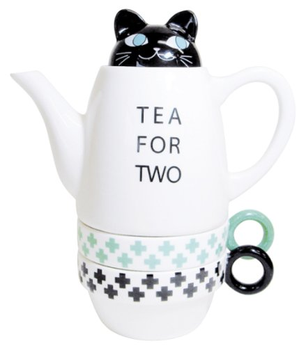 Tea For Two Porcelain Teapot and 2 Tea Cups Set - Cat by ...