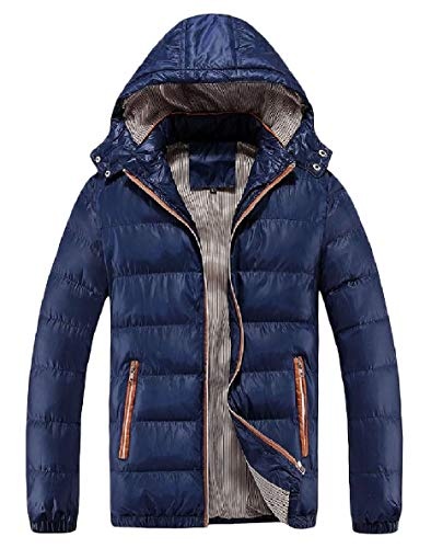 Pocket XINHEO Size Dark Thick Blue Puffer Sleeve Plus Long Down Mens Hood Zipper rarxqwE68