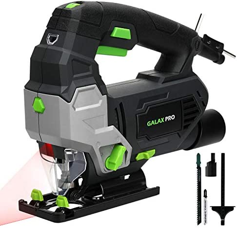 Jigsaw, GALAX PRO 6.7 Amp 3000 SPM Jig Saw Tool with Laser Guide, Max 45 Bevel Cutting Angle, 6 Adjustable Speeds, 4-Position Orbital Action, Max Cutting Capacity 4 Wood, 3 8 Metal