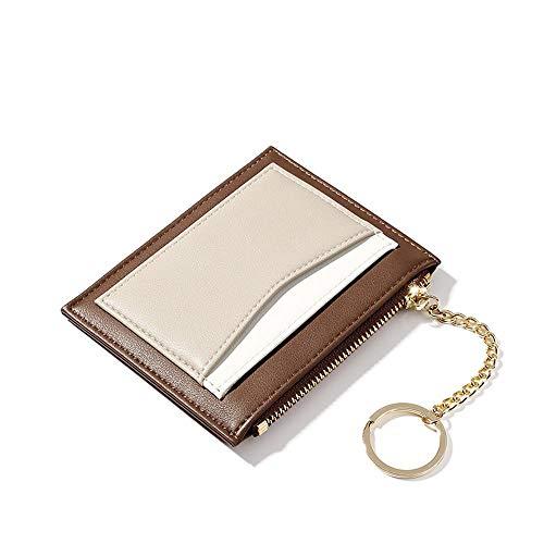 Womens small wallets Slim Minimalist Credit Card Holder Pocket Wallet Zipper Coin Purse Ladies Mini Purse (A-Brown)]()
