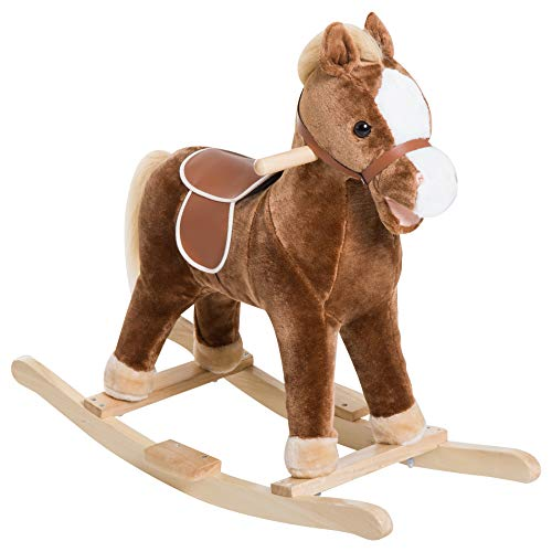 (Qaba Kids Plush Toy Rocking Horse Ride on with Realistic Sounds - Brown)