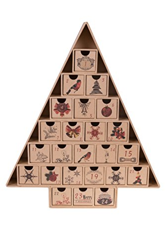 Christmas Tree 24 Day Advent Calendar by Clever Creations | Countdown to Christmas| Premium Holiday Décor | Sturdy Cardboard with Printed Details | 24 Drawers | 14