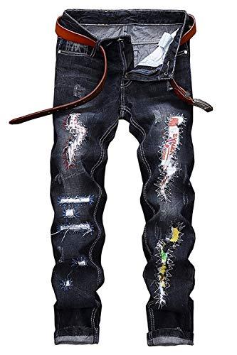 Sottili Strappati Classiche Retro Lavate Pantaloni Buche Jeans Casuali Denim Den Blau Uomo 2018 Ragazzi XIX8xT