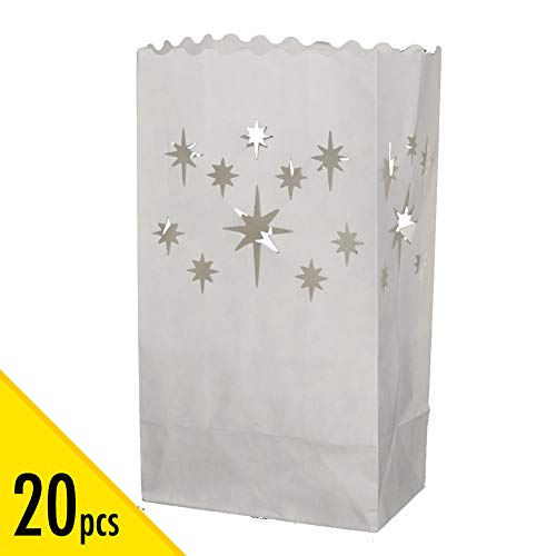 (20 pcs White Luminary Bags, Candle Bag with Stars Design, Durable and Reusable Fire-Retardant Cotton Material Paper Lantern Bags for Wedding Valentine Reception Engagement Marriage Proposal Event)
