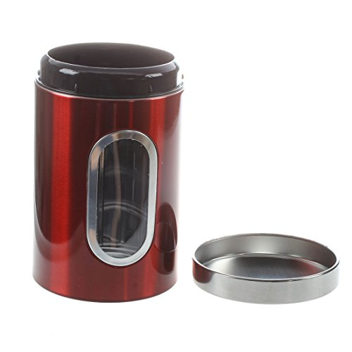 Window Canister Set (SODIAL(R) 3pcs Stainless Steel Window Canister Tea Coffee Sugar Nuts Jar Storage Set (Red))