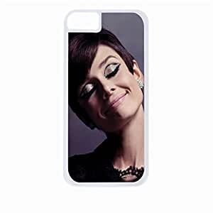 Audrey Hepburn-Glitter Eyelids - Hard White Plastic Snap - On Case with Soft Black Rubber Lining-Apple Iphone 4 - 4s - Great Quality!