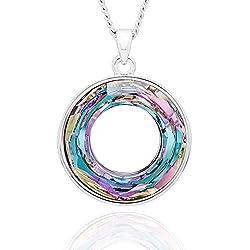 Multi Color Aurora Borealis Circle Crystal Necklace