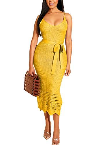 LOV ANNY Women's Sexy V Neck Knit Crochet Spaghetti Straps Tie Knot Front Cutout Dress L Yellow