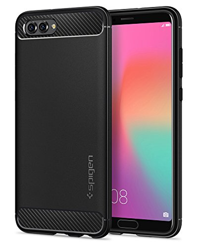 Spigen Rugged Armor Huawei Honor View 10 / Honor V10 Case with Flexible and Durable Shock Absorption with Carbon Fiber Design for Honor View 10 / Honor V10 (2018) - Black