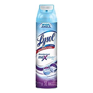 Lysol Max Cover Disinfectant Mist, Lavender Field, 15oz, 2X Wider Coverage