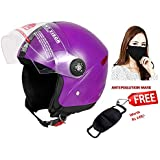 JMD Helmets Grand Open Face Helmet (Purple, M)