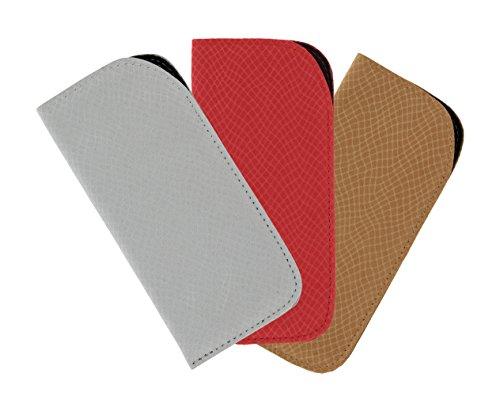 3 Pack Eyeglass Slip Case For Women & Men - Faux Snake Skin In Gray, Red & ()