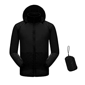 Men Women Lightweight Waterproof Rain Jacket UV Protect+Quick Dry Windproof Skin Coat Active Outdoor Hoodie Coat Cycling Running Sport Jacket with Storage Bag